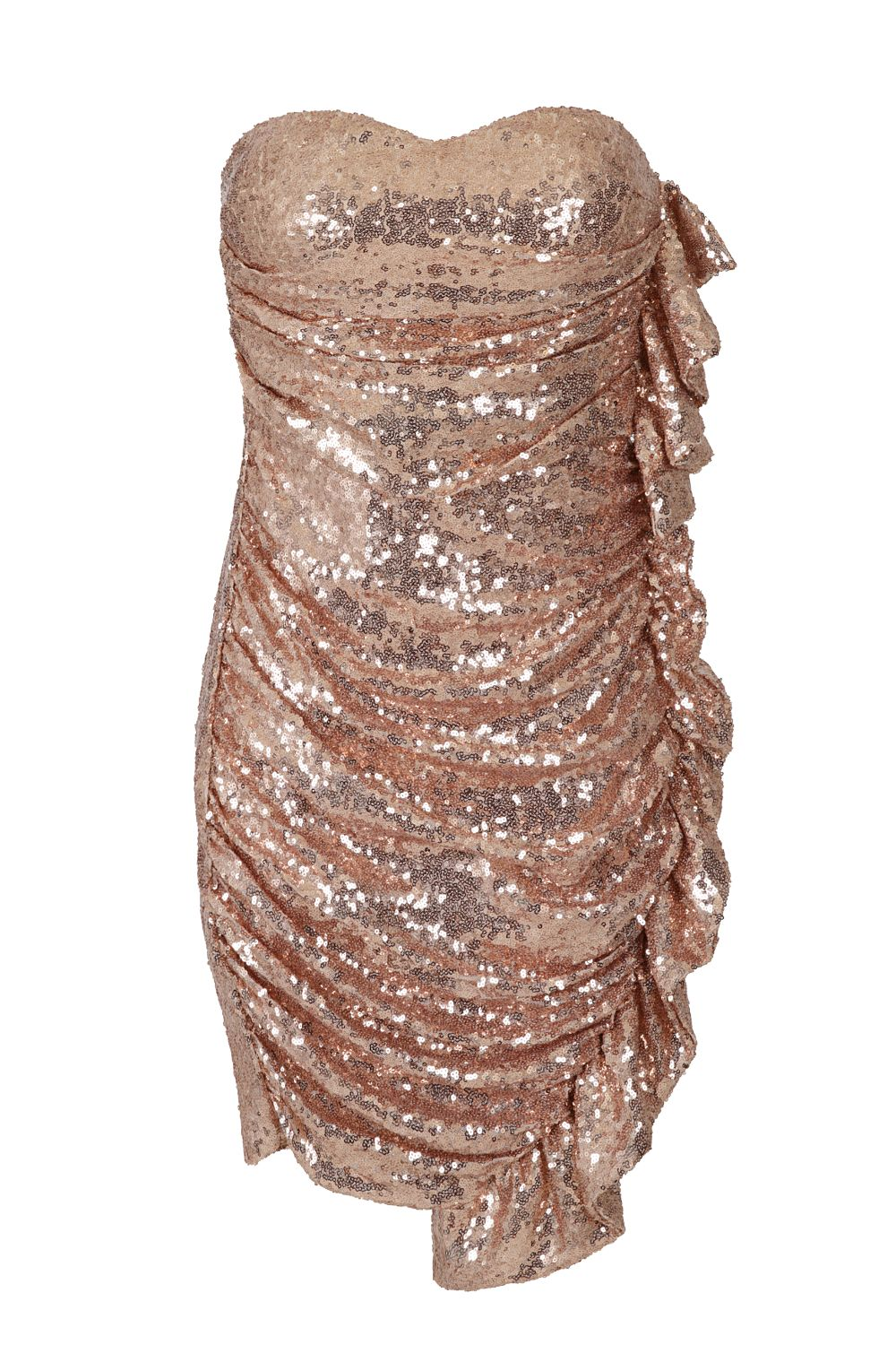 Ruffle Me Up Rose Gold Strapless Sequin Bodycon Dress