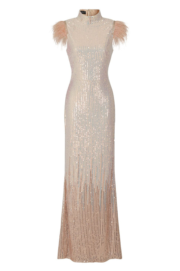 Bliss Vip Rose Gold Silver Ombre Sequin Feather Maxi Mermaid Dress