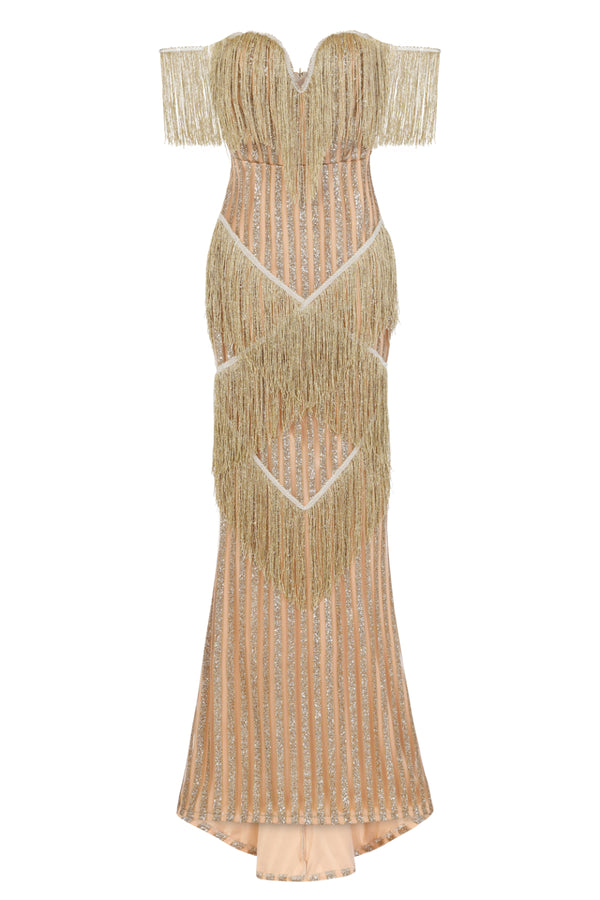 Amira Gold & Nude Glitter Stripe Tassel Fringe Bardot Fishtail Dress