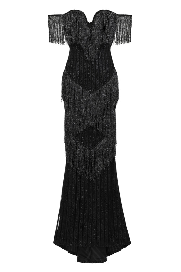 Amira Black Glitter Stripe Tassel Fringe Bardot Fishtail Dress