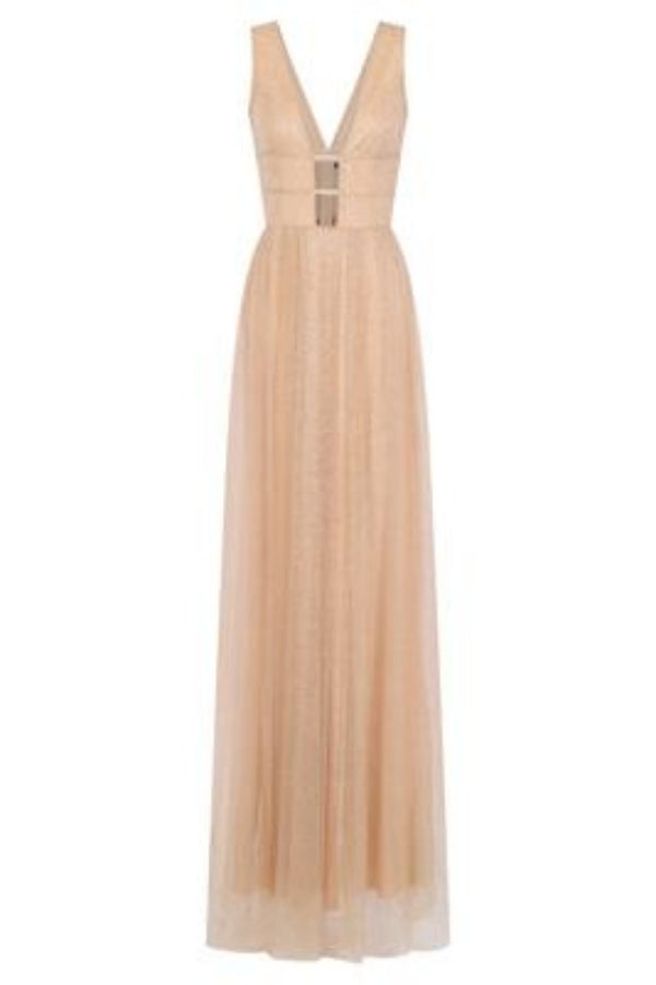 Hart Nude Gold Mesh Sparkle Plunge Maxi Gown Dress