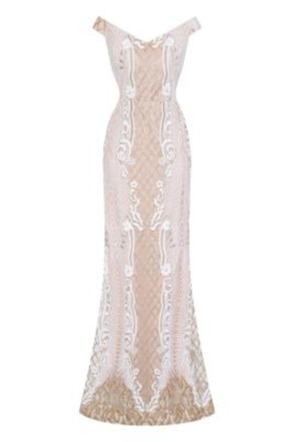 Enchanted Vip White Gold Sequin & Embroidery Bardot Fishtail Mermaid Dress