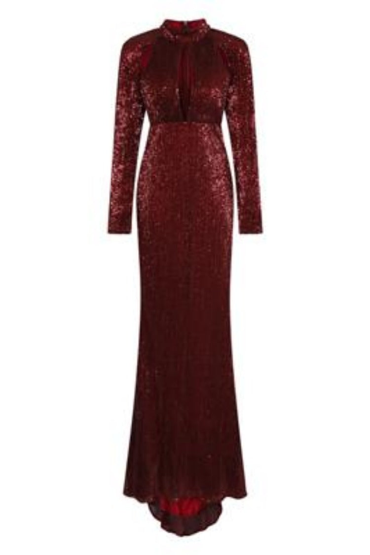Salma Luxe Berry Keyhole Glistening Sequin Fishtail Maxi Dress