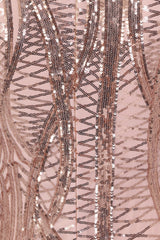 Iconic Luxe Rose Gold Cage Sequin Bandage Illusion Midi Pencil Dress