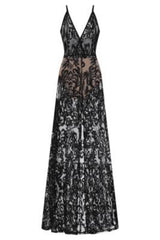 Unleashed Black Sheer Luxe Sequin Slit Maxi Gown Dress