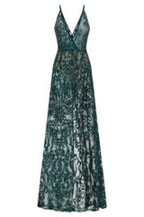 Unleashed Green Sheer Luxe Sequin Slit Maxi Gown Dress