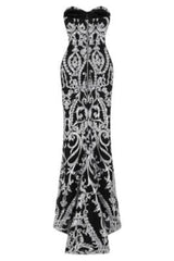 Love Spell Black Silver Sweetheart Brocade Sequin Fishtail Dress