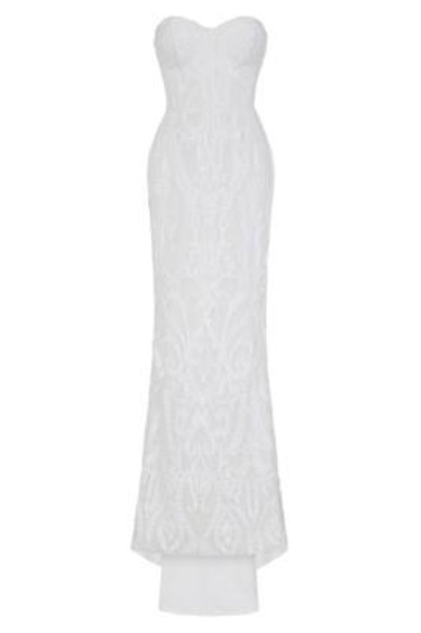 Love Spell White Sweetheart Brocade Sequin Fishtail Dress