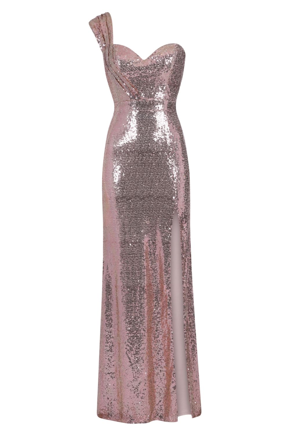 Twisted Love Rose Gold Sweetheart Sequin Slit Fishtail Maxi Dress