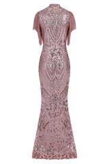Magic Vip Rose Gold Luxe Tassel Fringe Sequin Embellished Illusion Maxi Dress