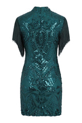 Kylie Vip Green Luxe Tassel Fringe Sequin Embellished Illusion Dress