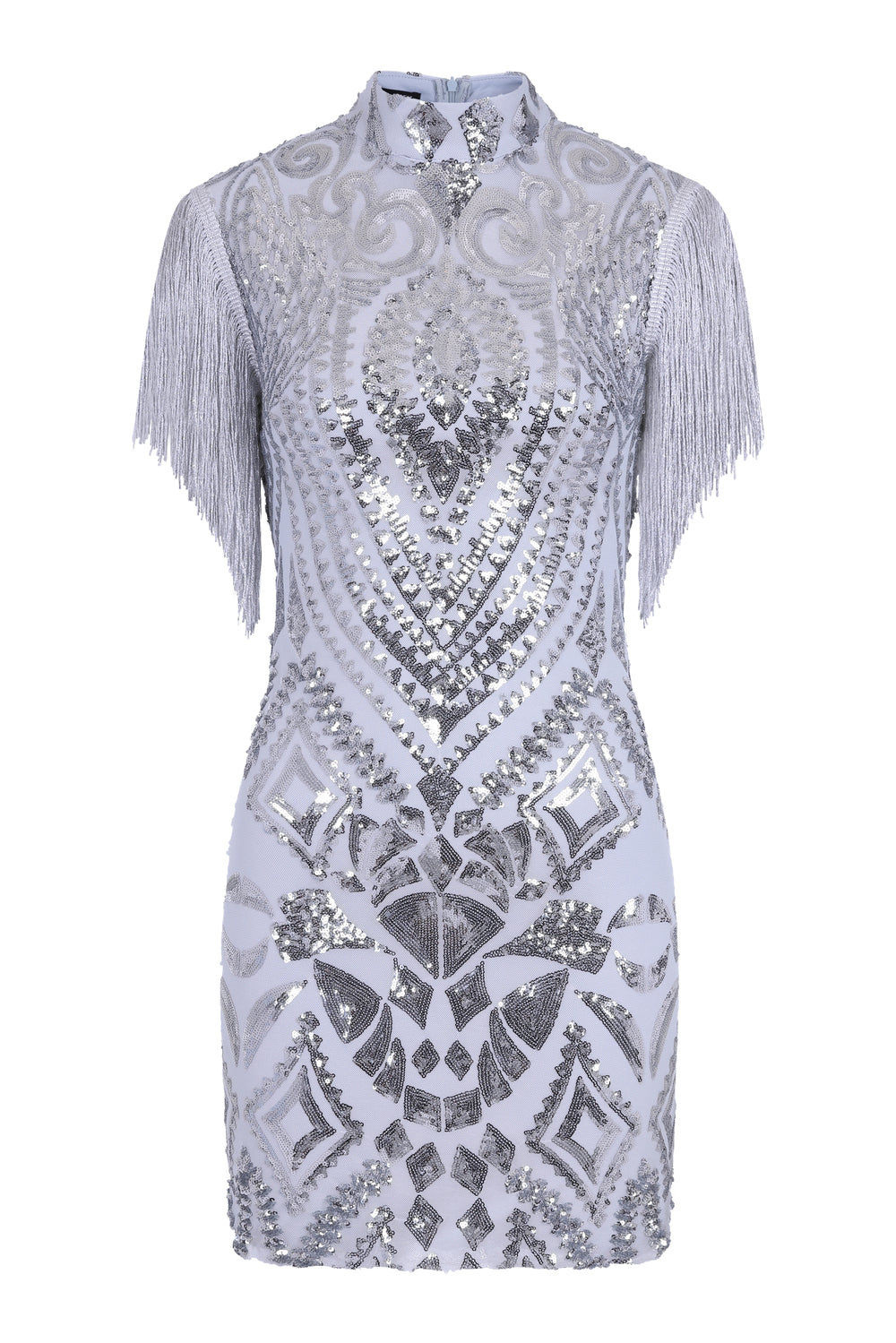 Kylie Vip Silver Luxe Tassel Fringe Sequin Embellished Illusion Dress