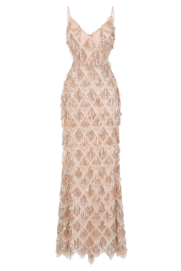 Serenity Gold Nude Ombre Sequin Tassel Fringe Backless Mermaid Dress