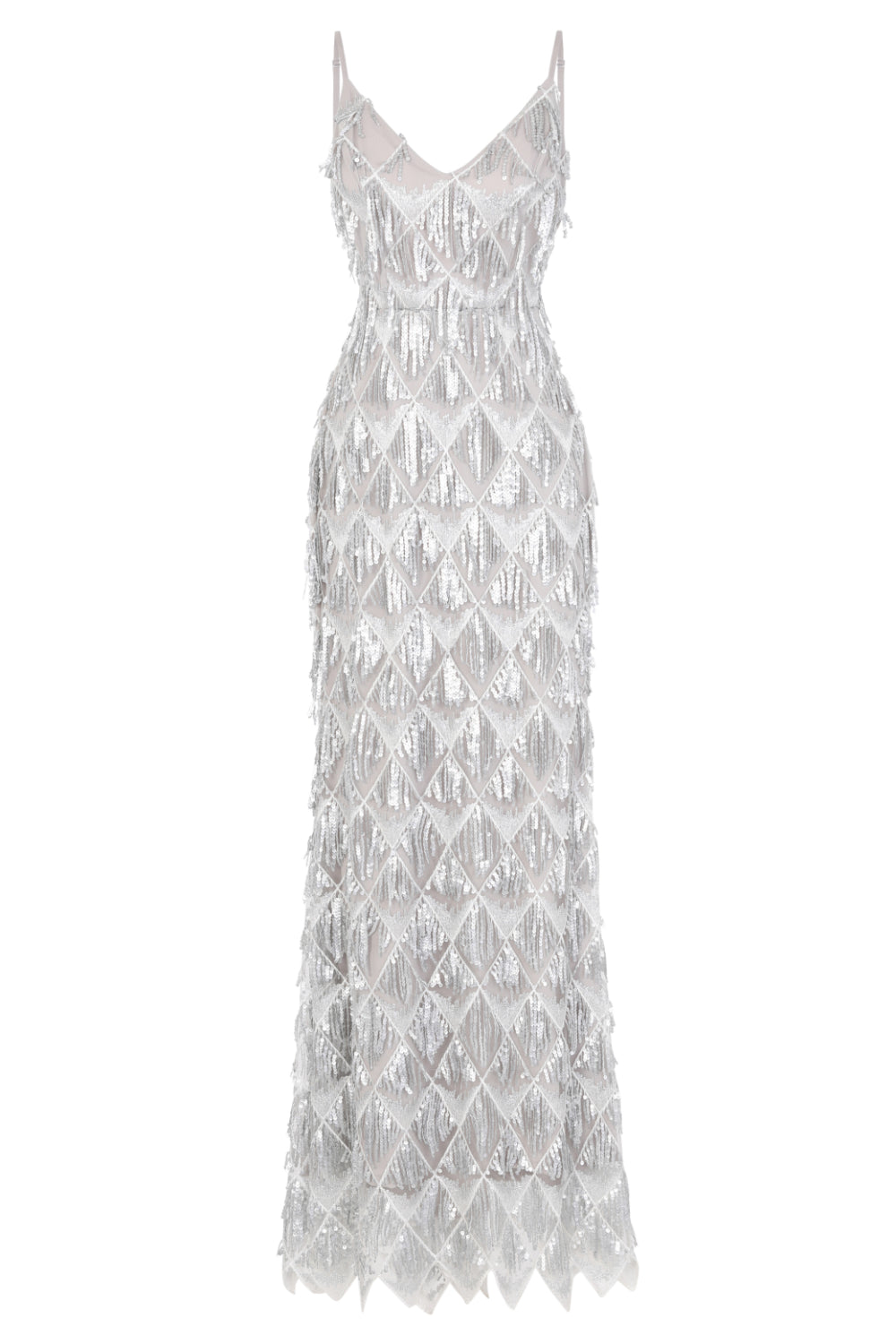 Serenity Silver Ombre Sequin Tassel Fringe Backless Mermaid Dress