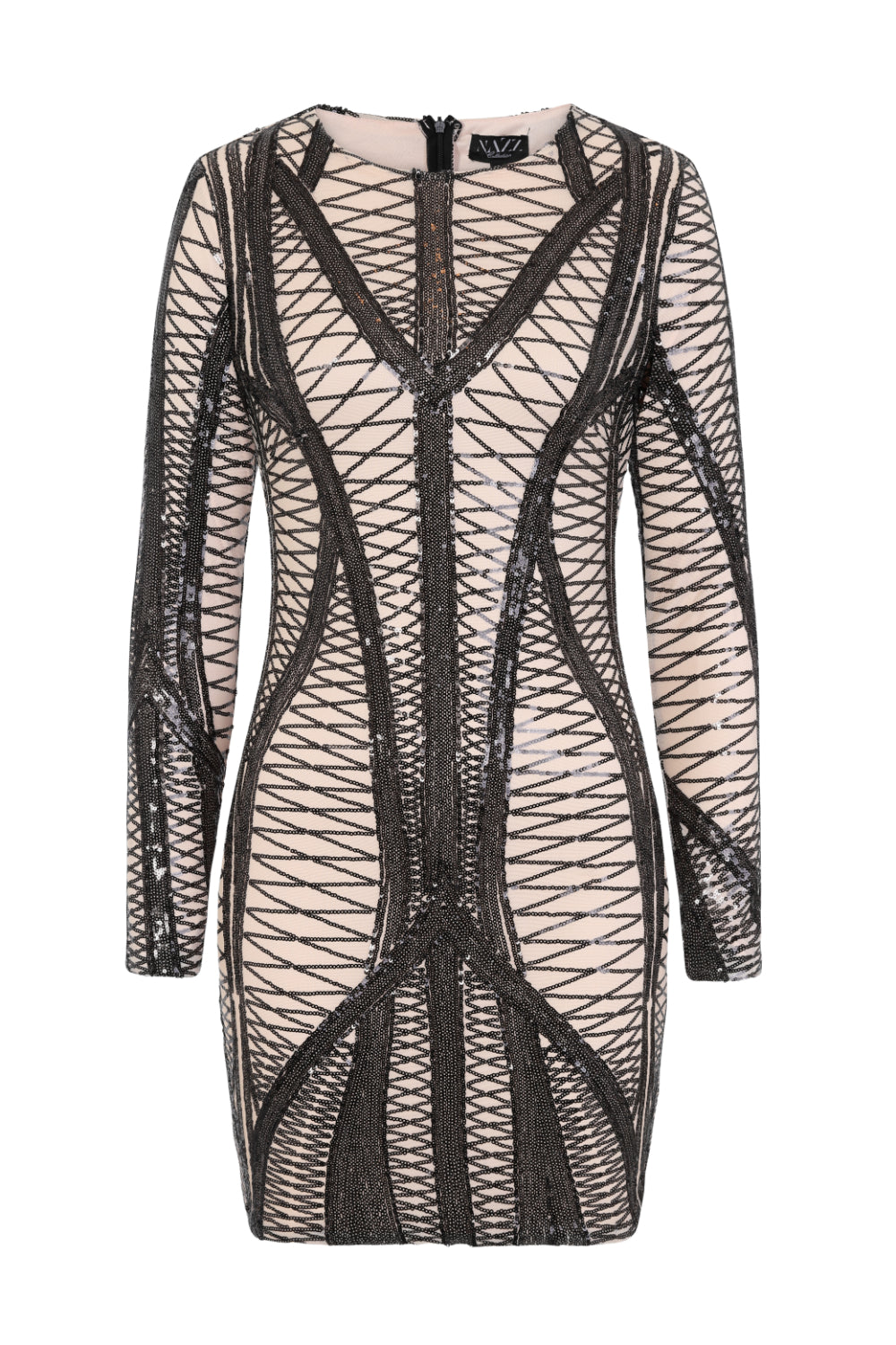 Hilton Luxe Black Nude Cage Sequin Bandage Illusion Dress