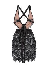 Holly Glam Black Ombre Sequin Tassel Fringe Sheer Dress