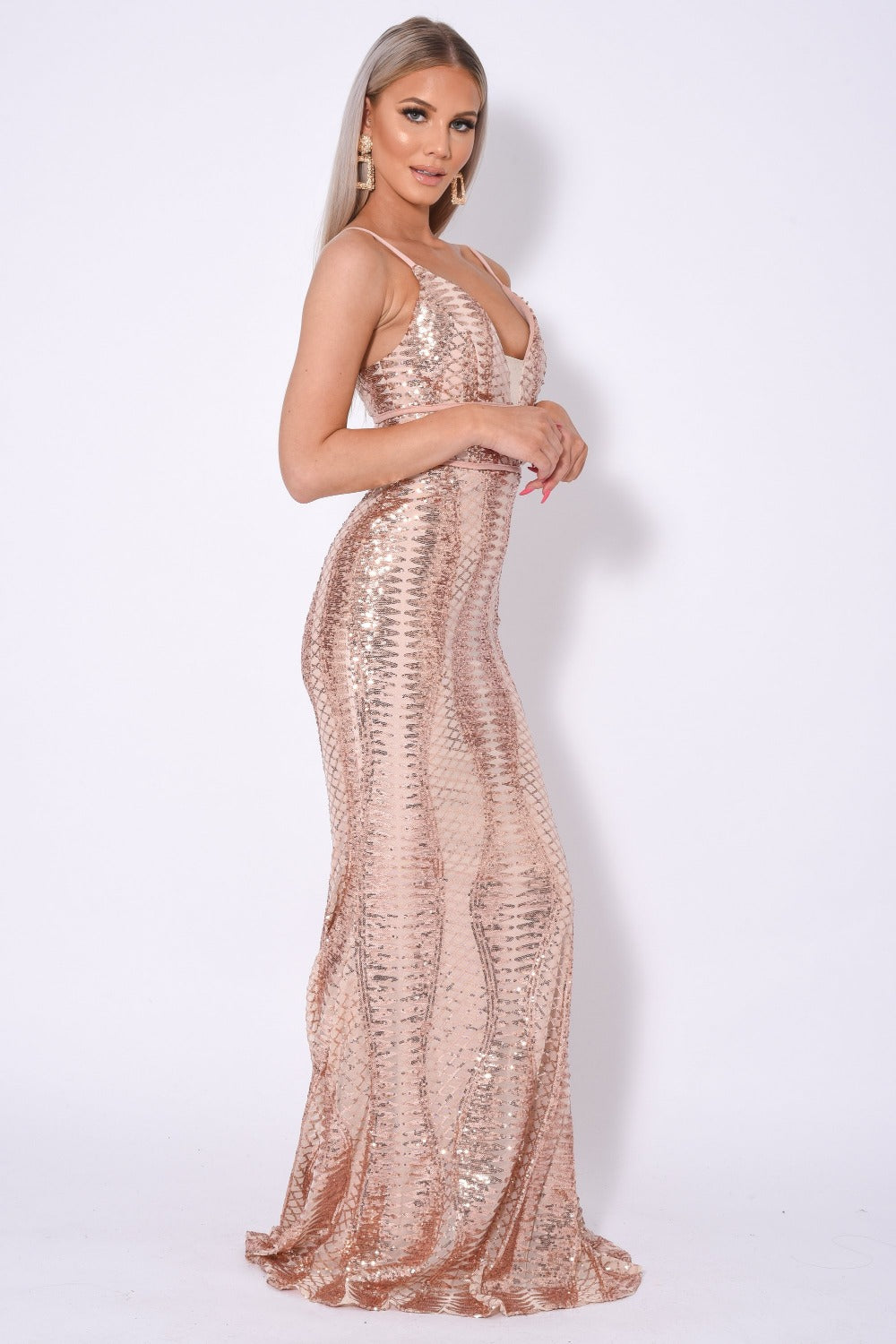 Virgo Rose Gold Plunge Cage Sequin Bandage Illusion Maxi Dress