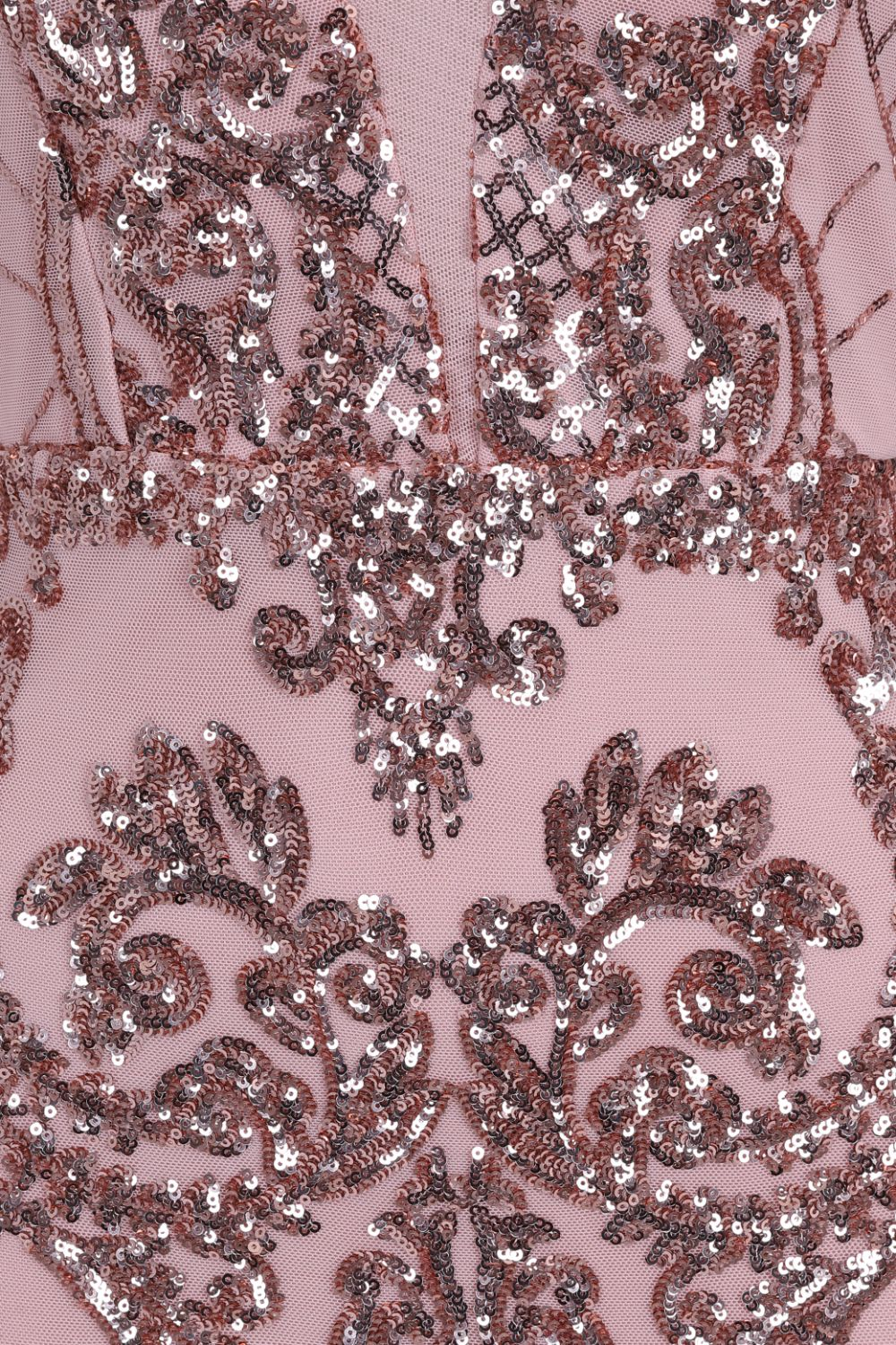 Secrets Rose Gold Long Sleeve V Back Floral Mesh Plunge Sequin Dress