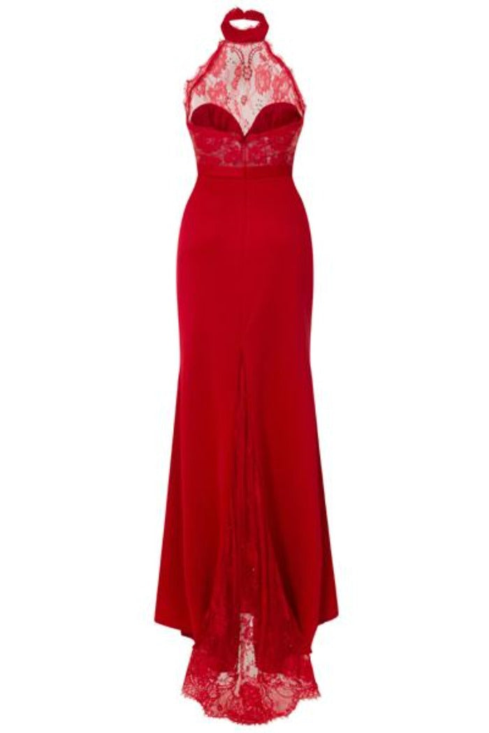 Cleo Luxe Berry Red Halterneck Diamante Lace Fishtail Maxi Dress