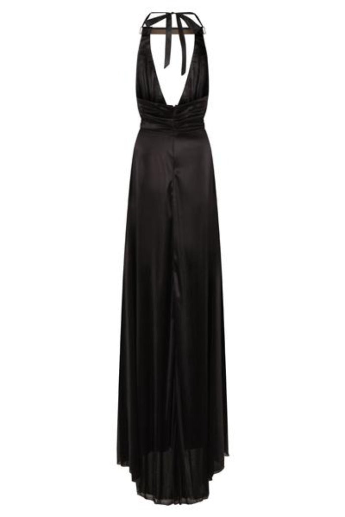 Riri Black Gold Choker Plunge Double Slit Maxi Dress