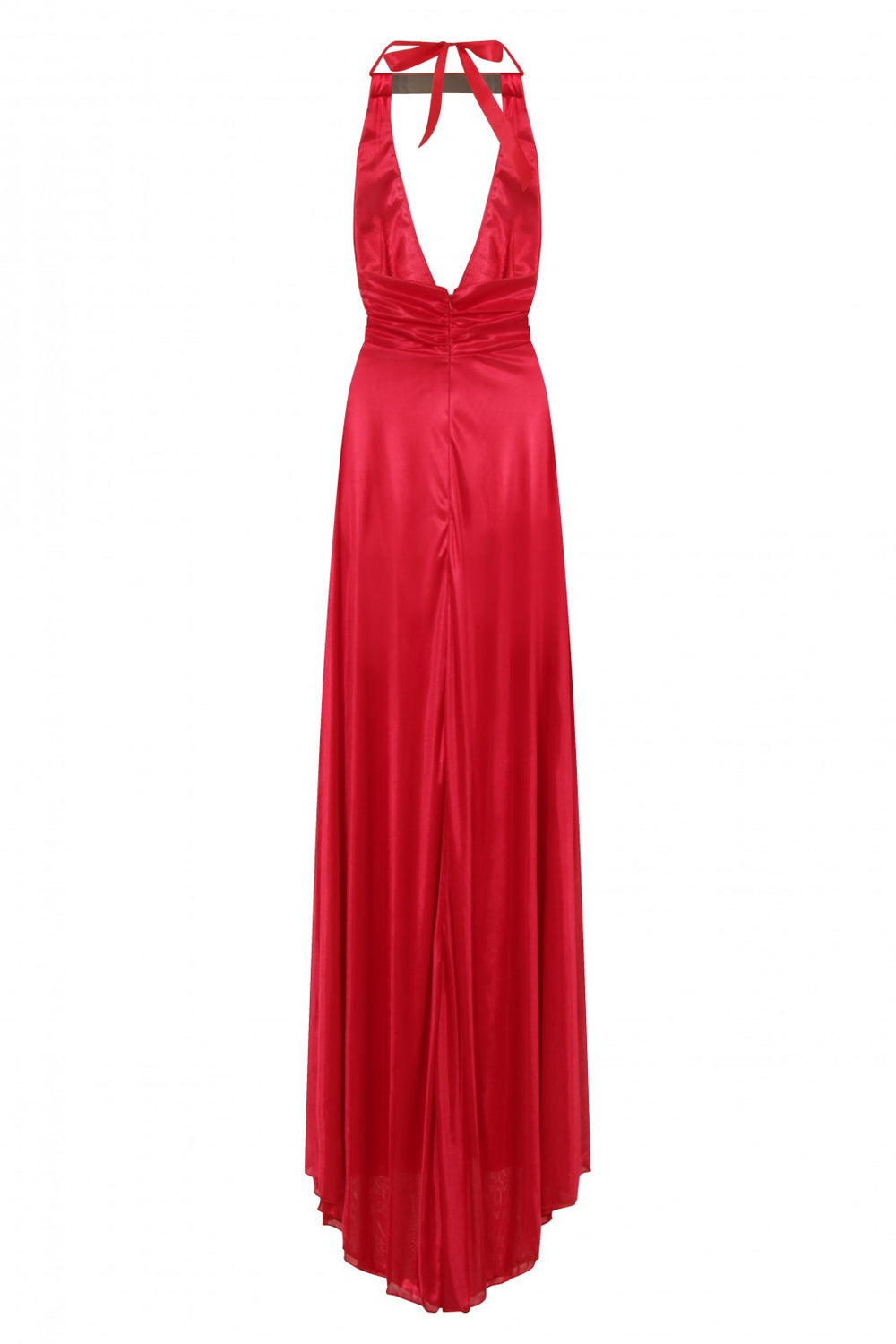 Riri Red Gold Choker Plunge Double Slit Maxi Dress