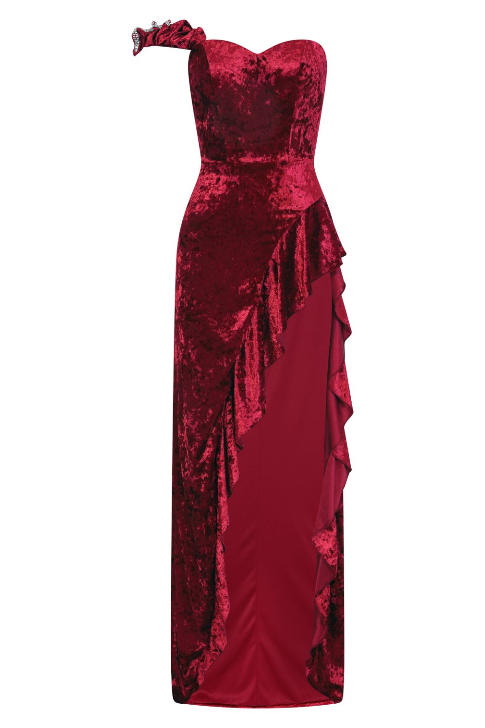 Secret Romance Luxe Berry Velvet Ruffle Thigh Slit Maxi Dress