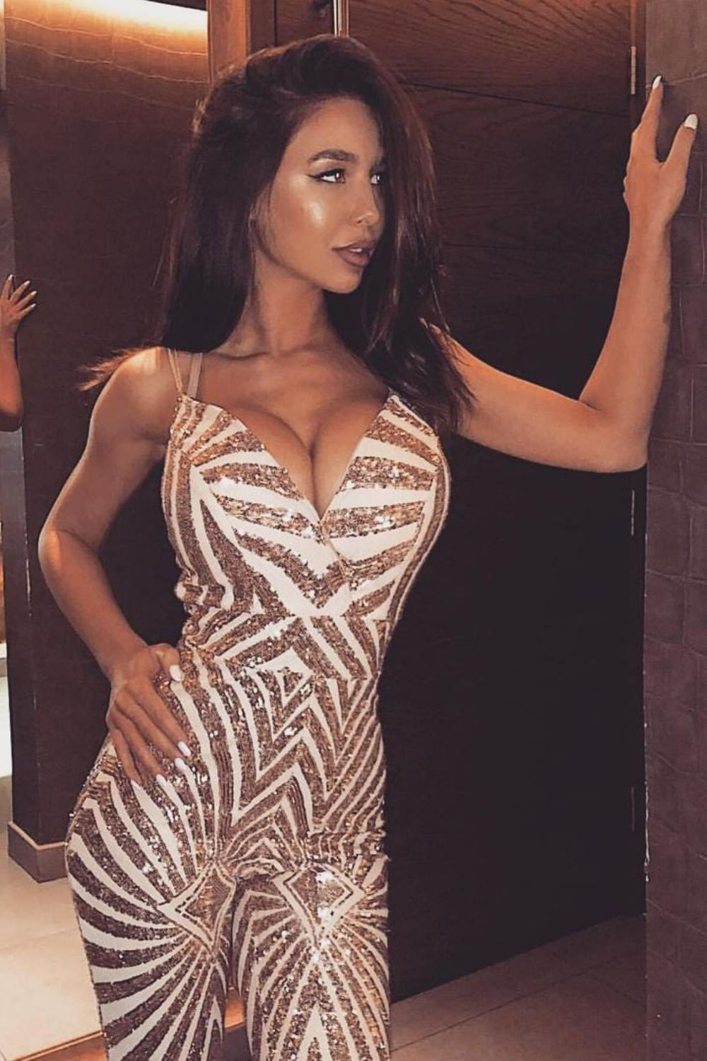 Temptation Rose Gold Plunge Sequin Hourglass Illusion Jumpsuit