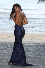 Spotlight Navy Vip Luxe Sequin Backless Mermaid Fishtail Dress