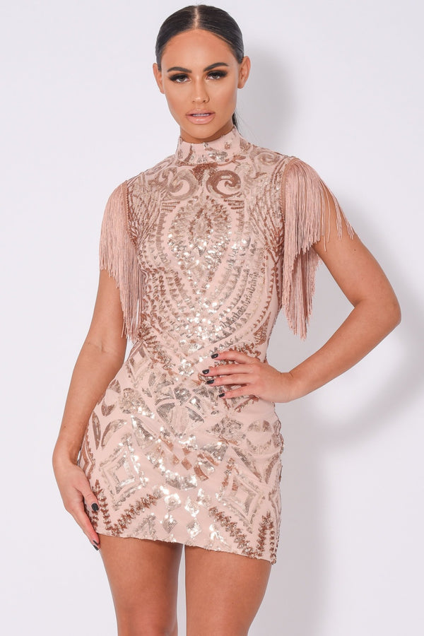 Kylie Vip Rose Gold Luxe Tassel Fringe Sequin Embellished Illusion Dress