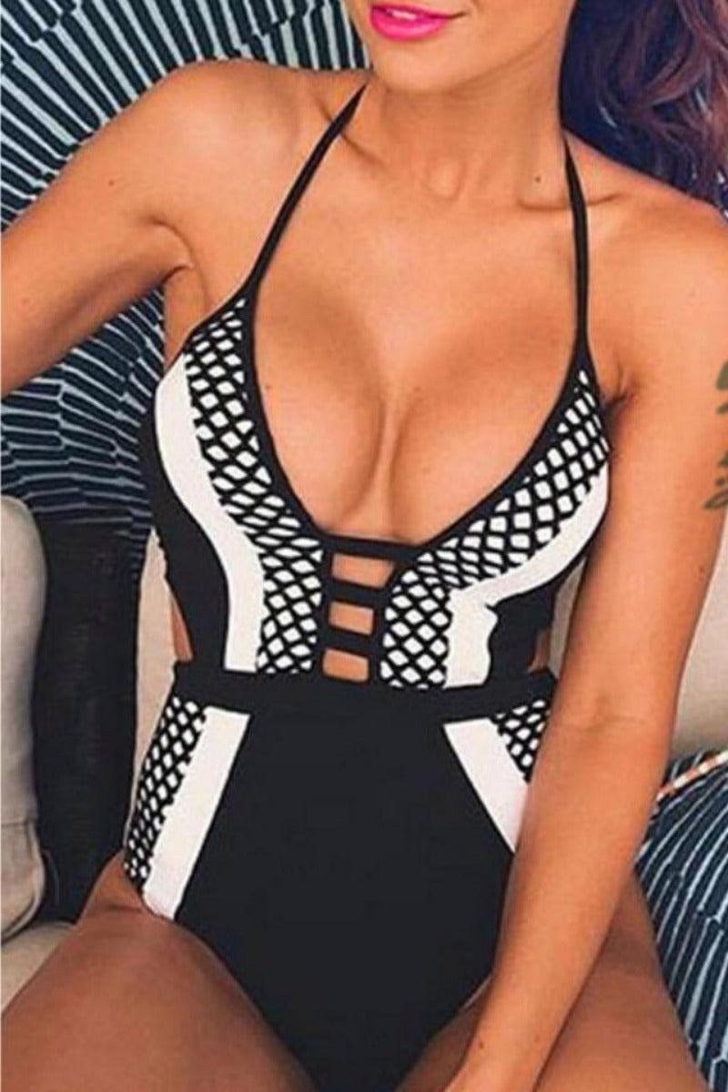La Monochrome Mesh Cutout Swimsuit Bodysuit