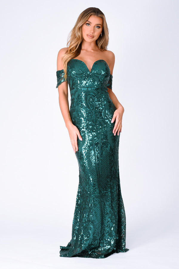 nazz collection sweetheart plunge sequin embellished bardot off the shoulder maxi fishtail mermaid dress emerald green
