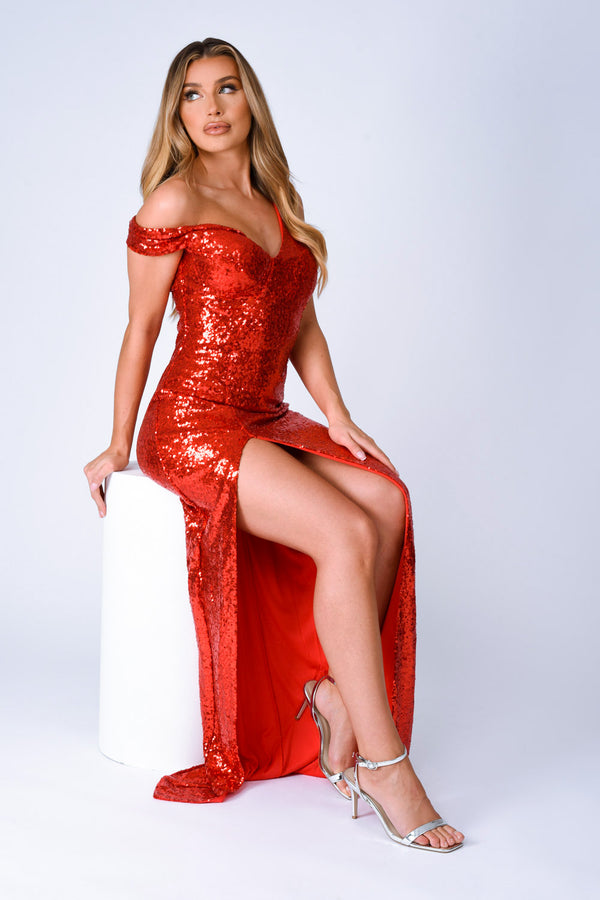 Marilyn Red Sequin Off The Shoulder Maxi Slit Dress