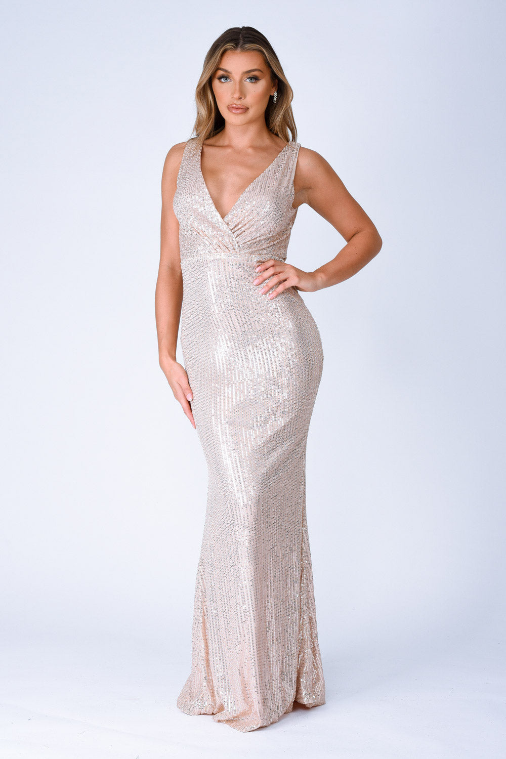 The One Rose Gold Sequin Plunge Backless Maxi Dress
