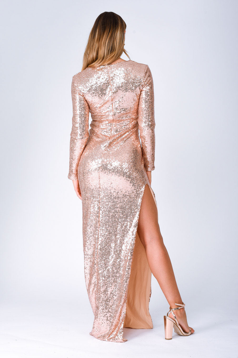 Hollywood Vip Rose Gold Sequin Plunge Slit Maxi Dress