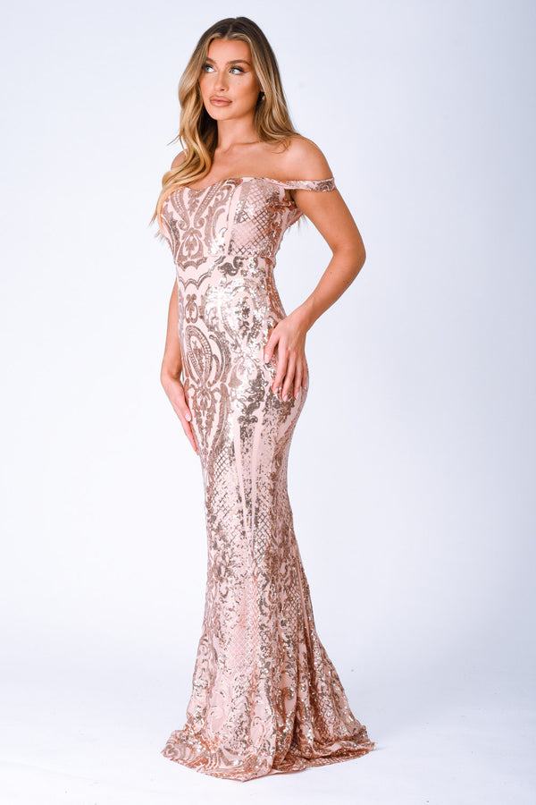 Layali Rose Gold Bardot Sweetheart Sequin Embellished Maxi Fishtail Dress
