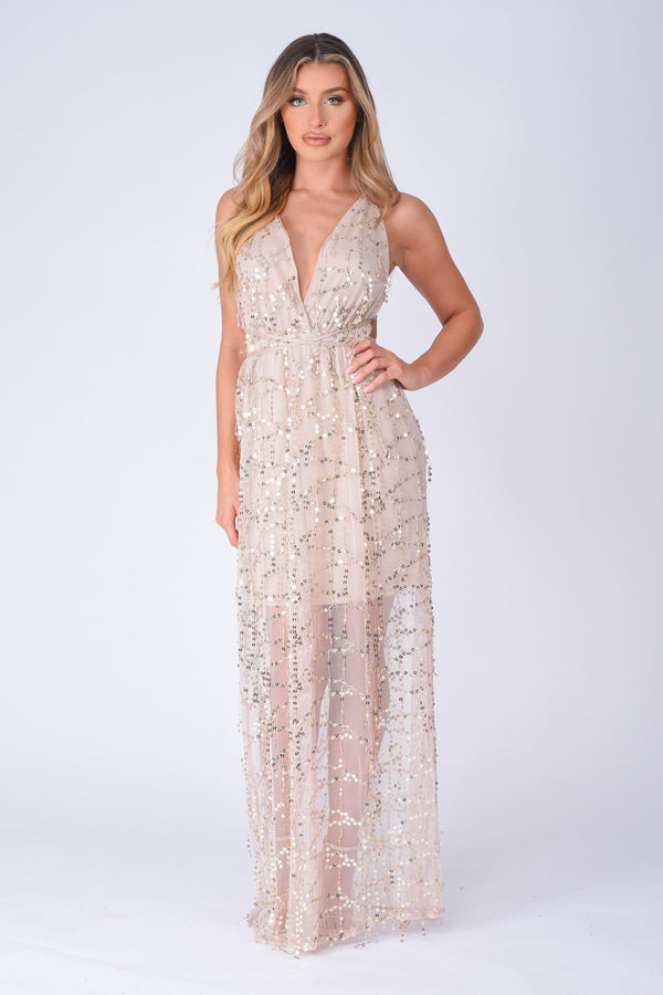 Tiffany Nude Plunge Gold Sequin Tassel Fringe Sheer Maxi Dress