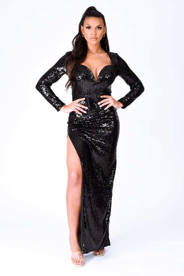 Hollywood Vip Black Sequin Plunge Slit Maxi Dress