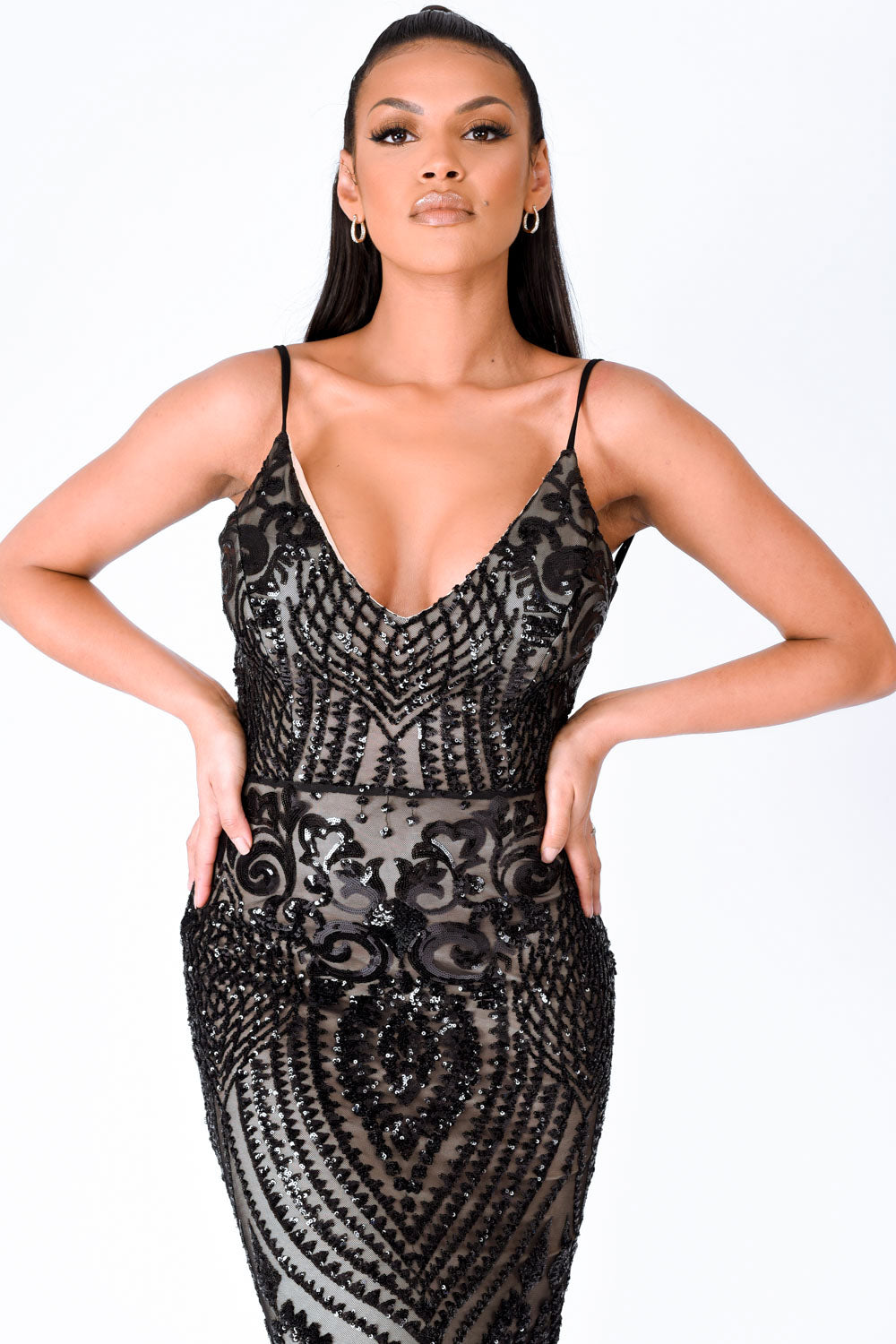 Spotlight Black Vip Luxe Sequin Backless Mermaid Fishtail Dress