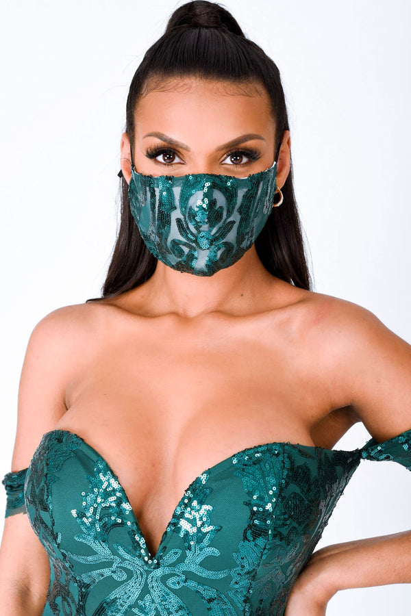 Layali Toxic Lovestruck Green Sequin Embellished Face Mask