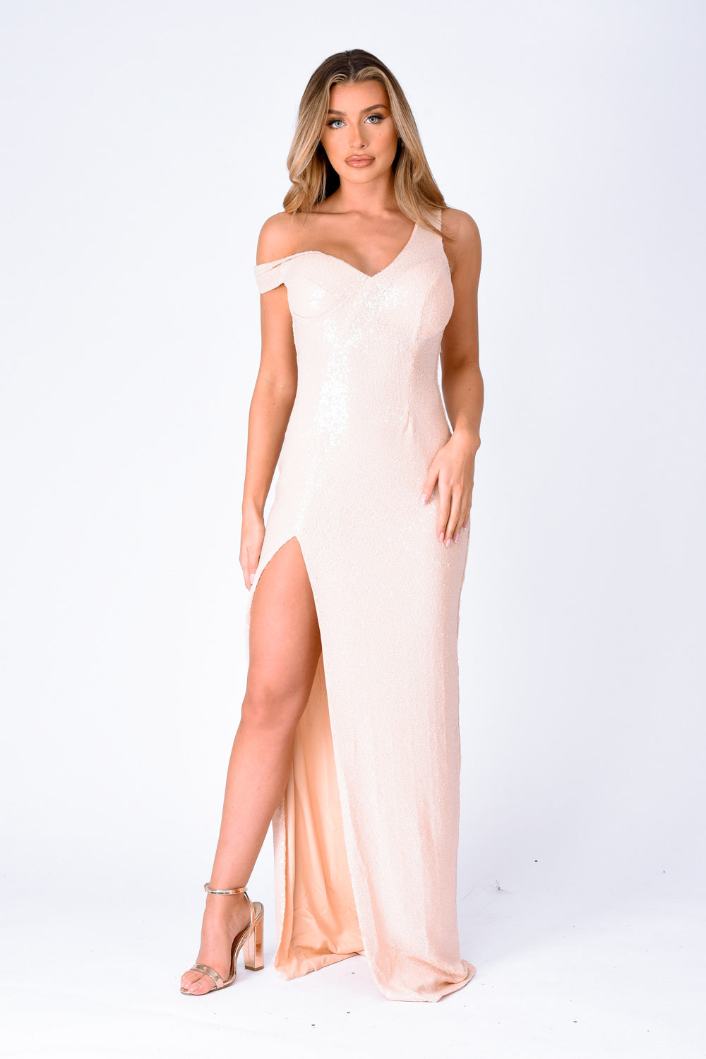 Marilyn Champagne Sequin Off The Shoulder Maxi Slit Dress