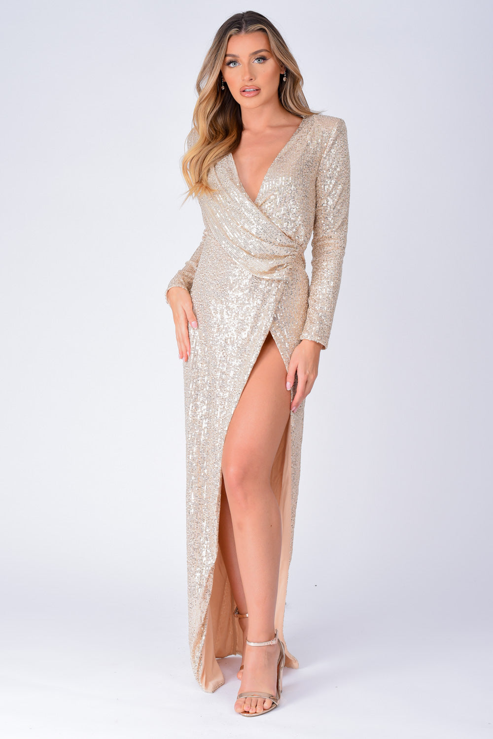 Gleaming Goddess Champagne Gold Sequin Plunge Wrap Slit Maxi Dress