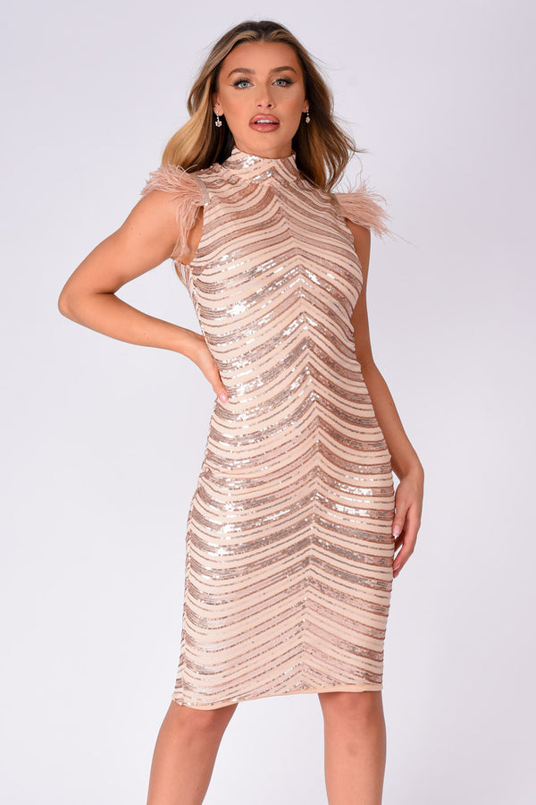 Destiny Vip Rose Gold Luxe Feather Sequin Illusion Midi Pencil Dress