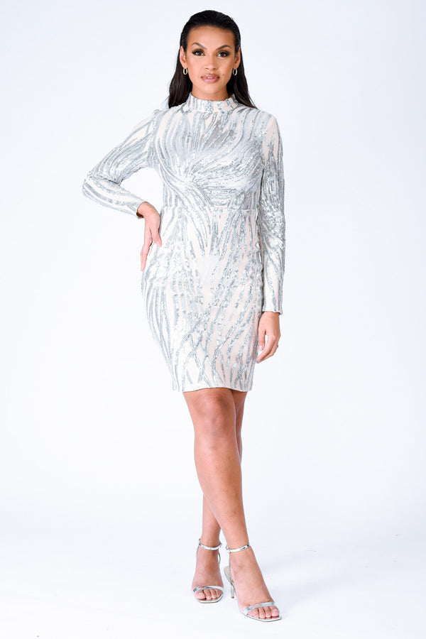 Highlight Luxe Silver Sequin Tree Effect Illusion Midi Dress