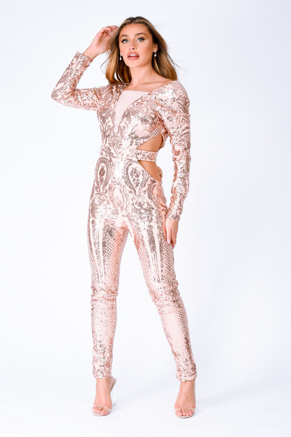 Toxic Rose Gold Luxe Plunge Illusion Sequin Mesh Embellished Jumpsuit