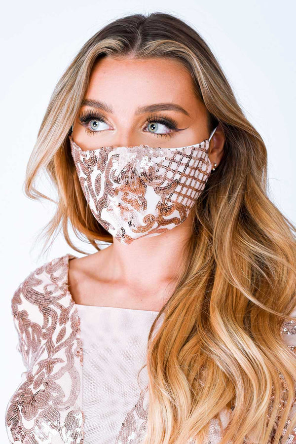 Toxic Rose Gold Sequin Embellished Face Mask