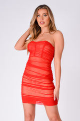 Misbehaved Red Ruched Mesh Bandeau Strapless Dress