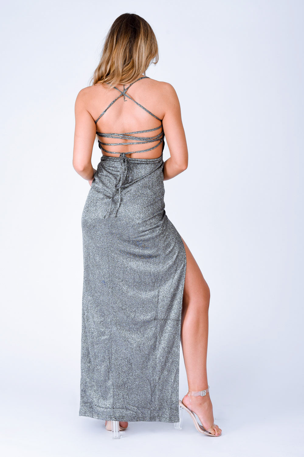 glitter metallic maxi slit black sparkle dress