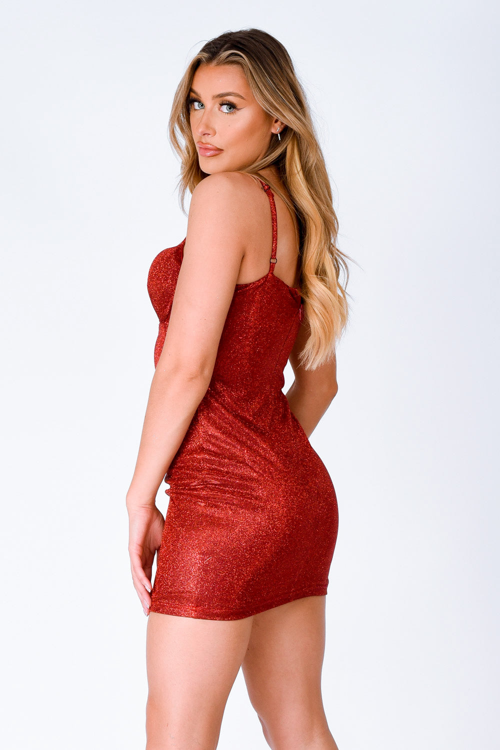 London Red Metallic Glitter Underwired Cut Out Bodycon Dress