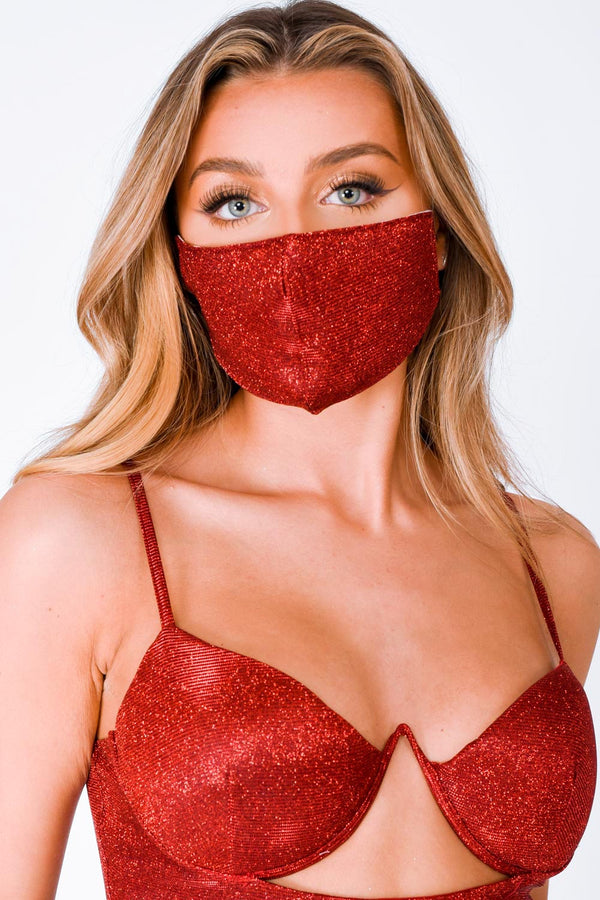 London Metallic Red Glitter Sparkle Face Mask
