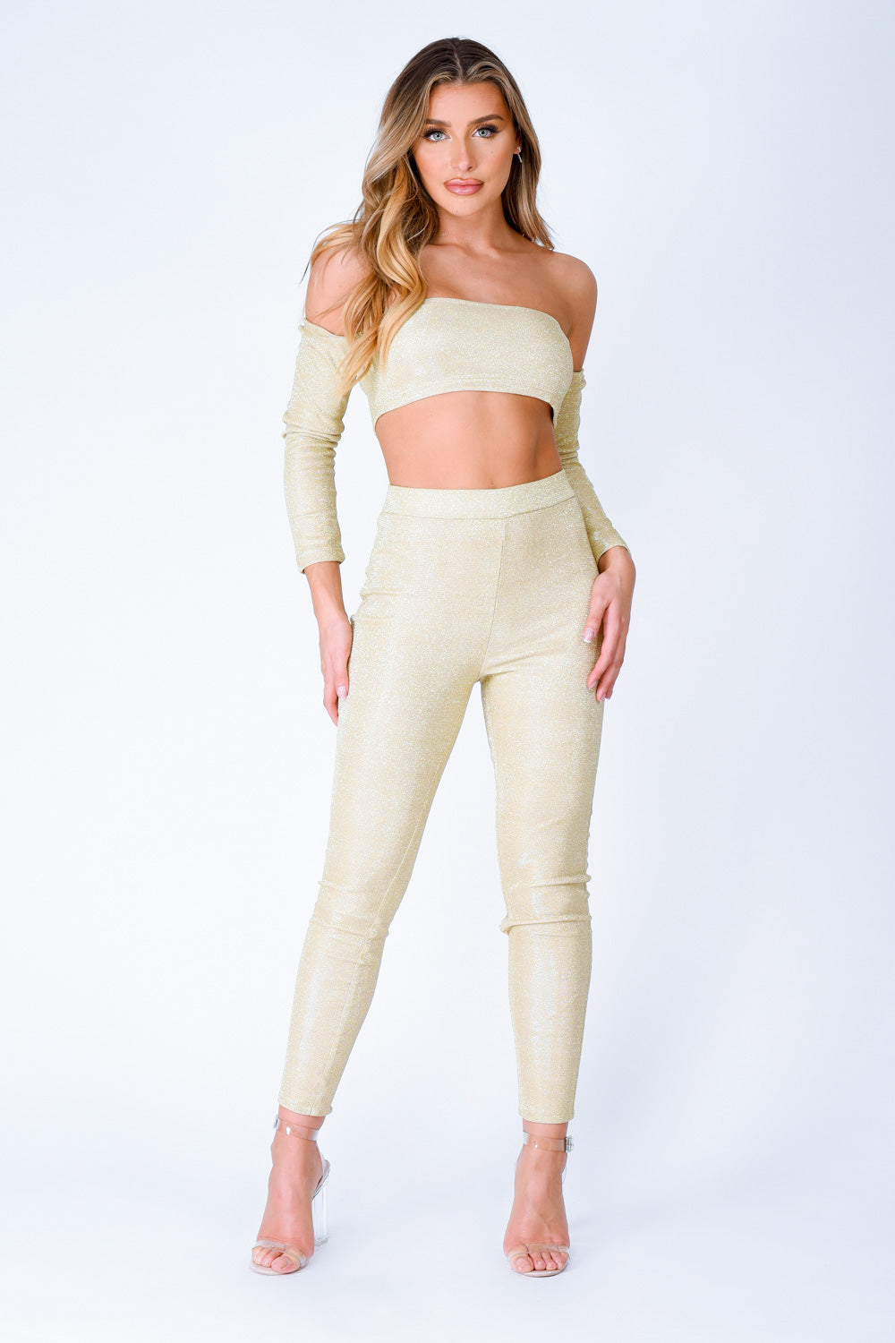 Havana Gold Metallic Glitter Two Piece Leggings Co-ord Set